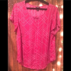 Torrid pink and white blouse size 2 , minor flaws